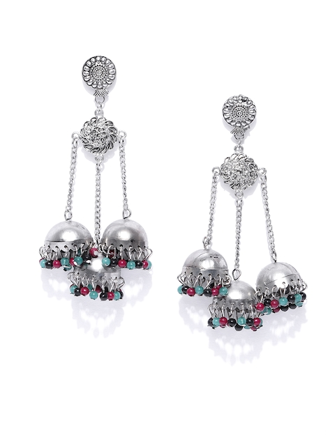 Anouk Silver-Toned Artificial Beaded Dome Shaped Jhumkas