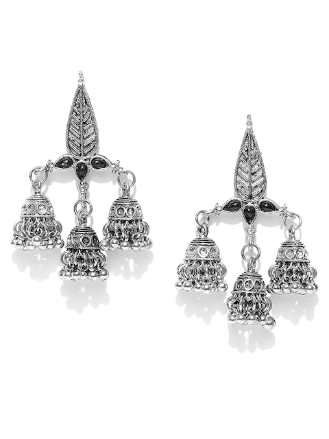 Anouk Black Oxidised Silver-Plated Dome Shaped Jhumkas