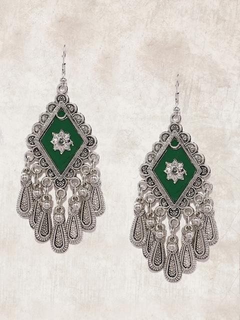Anouk Oxidised Silver-Toned & Green Geometric Drop Earrings