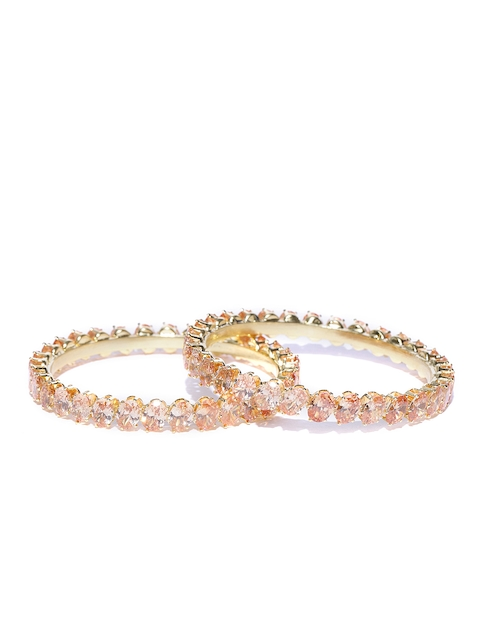 Priyaasi Set of 2 Peach-Coloured Gold-Plated Stone-Studded Handcrafted Bangles