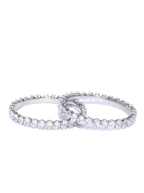 Priyaasi Set of 2 Silver-Toned Rhodium-Plated Stone-Studded Handcrafted Bangles