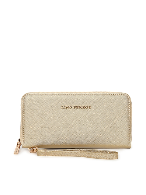 Lino Perros Women Gold-Toned Solid Zip Around Wallet with Detachable Wrist Loop
