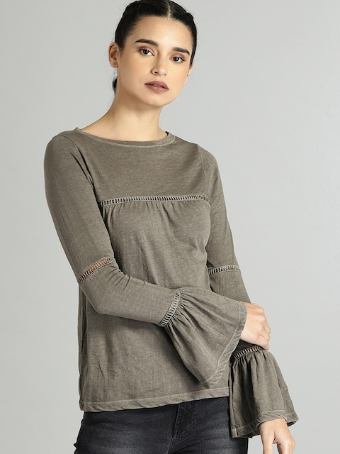 Roadster Women Olive Green Solid Cut Out Detail Top