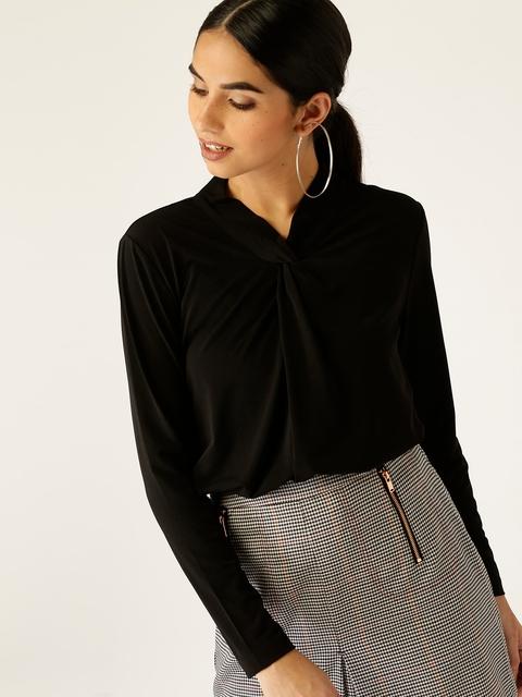 ESPRIT Women Black Solid Top