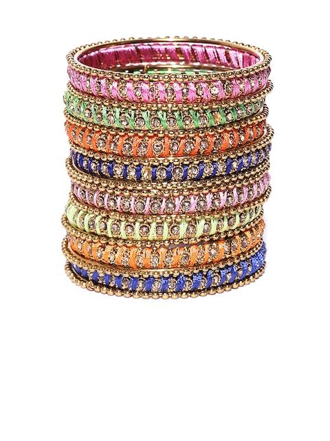 YouBella Set of 18 Multicoloured Textured Stone-Studded Bangles