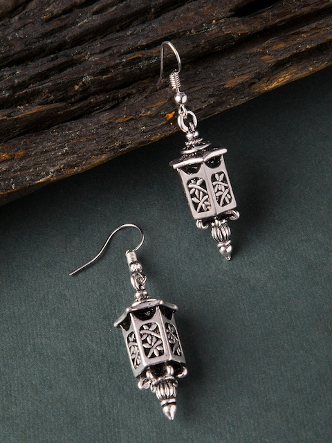 Rubans Silver-Toned Oxidised Contemporary Drop Earrings