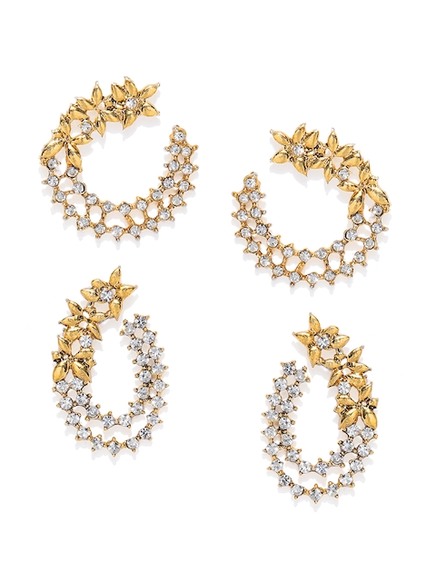 Zaveri Pearls Gold-Toned Set of 2 Floral Half Hoop Earrings