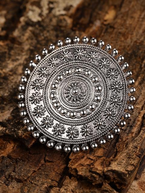 Zaveri Pearls Silver Toned Oxidized Adjustable Finger Ring