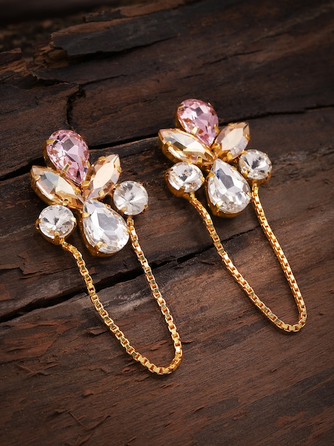 Zaveri Pearls Gold-Toned & Pink Contemporary Drop Earrings