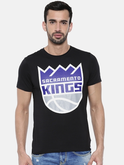 NBA Men Black Printed Round Neck Sacramento Kings T-shirt