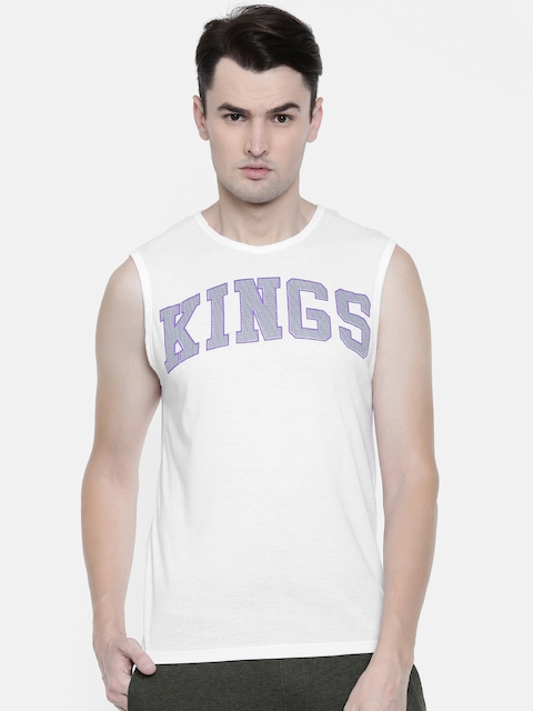 NBA Men White Printed Round Neck T-shirt