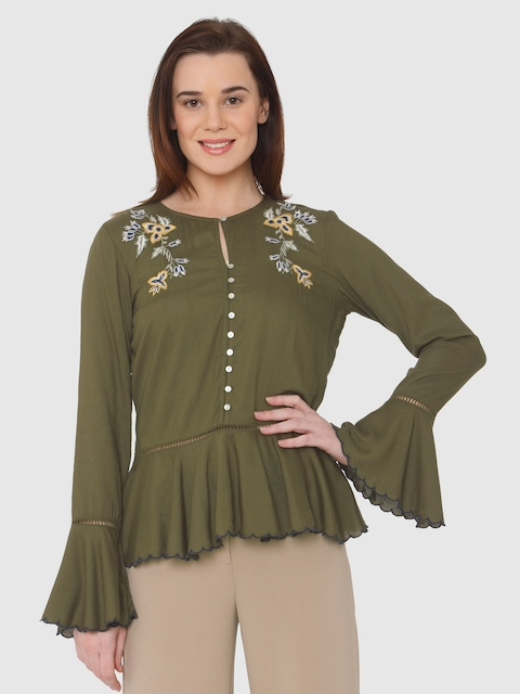 Vero Moda Women Olive Green Embroidered Peplum Top