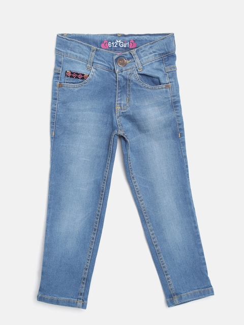 612 league Girls Blue Regular Fit High-Rise Clean Look Stretchable Jeans