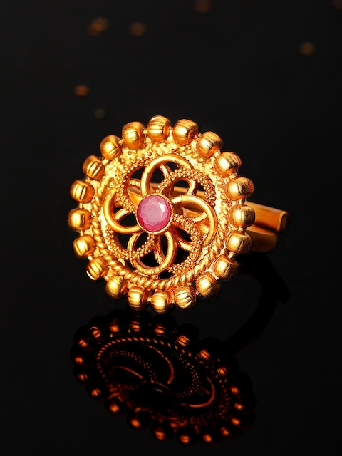 Rubans Antique Gold-Plated & Pink Faux Ruby Embellished Adjustable Cocktail Ring