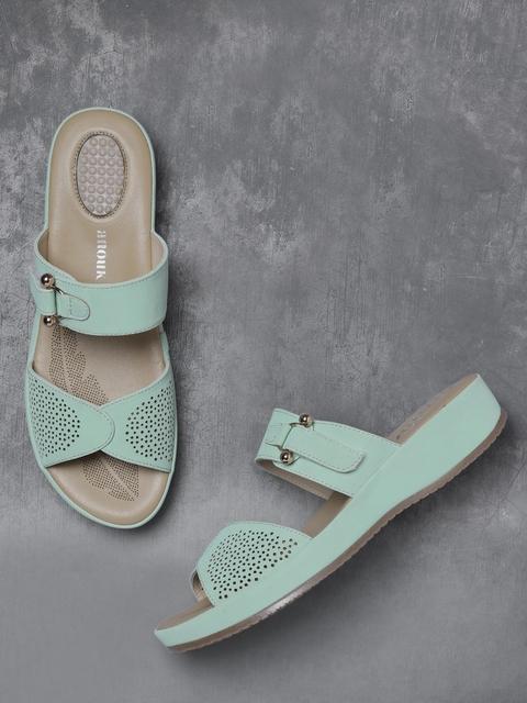 Anouk Women Sea Green Cut-Out Comfort Heels