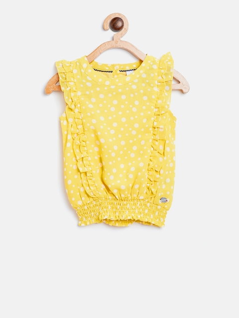 U.S. Polo Assn. Kids Girls Yellow & White Printed Cinched Waist Top