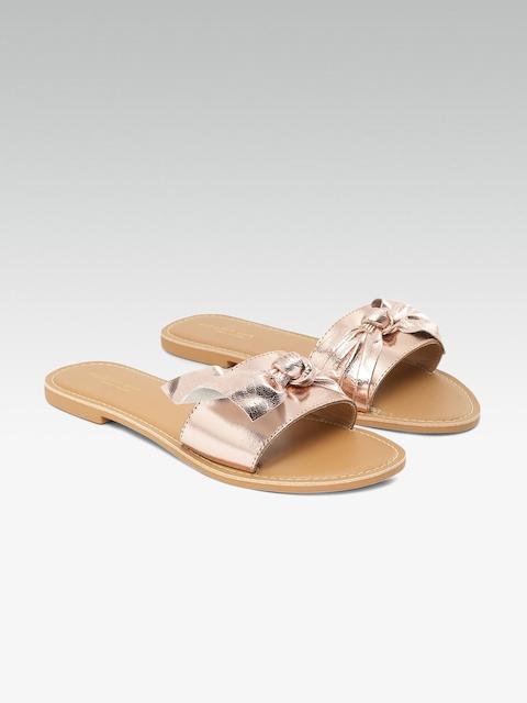 Steve Madden Women Rose Gold Solid Open Toe Flats