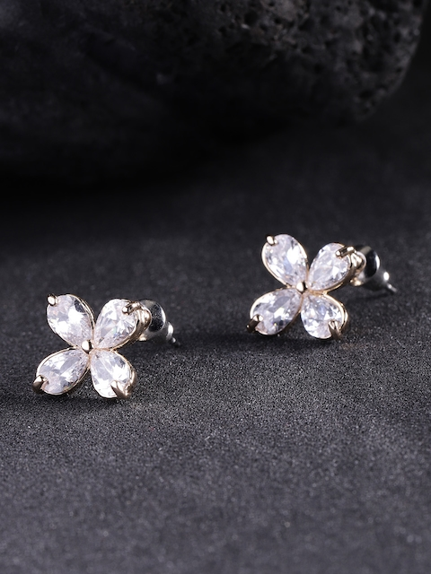 Carlton London Gold-Plated CZ-Studded Floral Studs