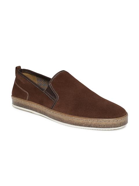 Ruosh Men Brown Suede Slip-On Sneakers