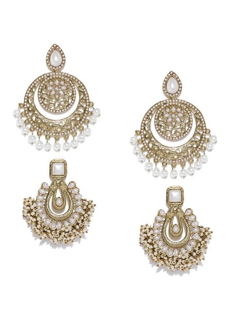 Zaveri Pearls Set of 2 Gold-Toned Crescent Shaped Chandbalis