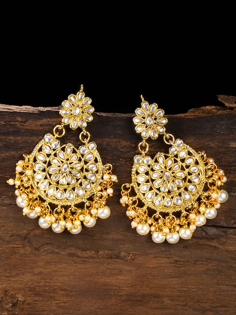Zaveri Pearls Gold-Toned Kundan & Pearl Embellished Contemporary Drop Earrings