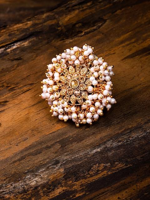 Zaveri Pearls Gold Toned Embellished With Pearls Adjustable Finger Ring