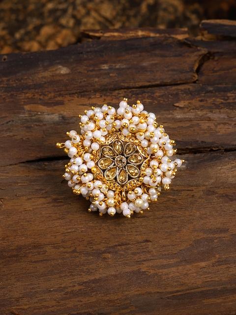 Zaveri Pearls Gold Tone Embellished With Pearls Adjustable Finger Ring