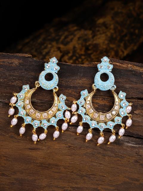 Zaveri Pearls Gold-Toned & Blue Contemporary Drop Earrings