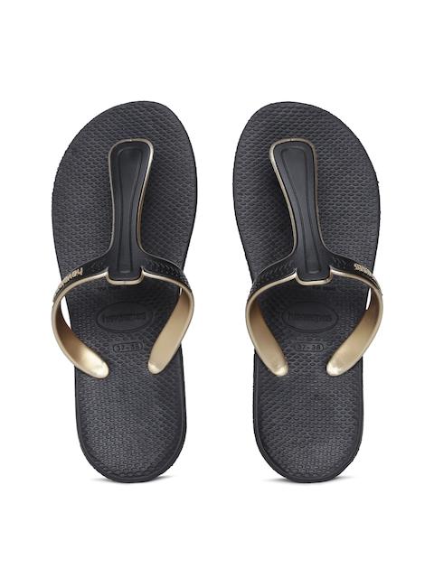 Havaianas Women Casual Black Solid T-Strap Flats