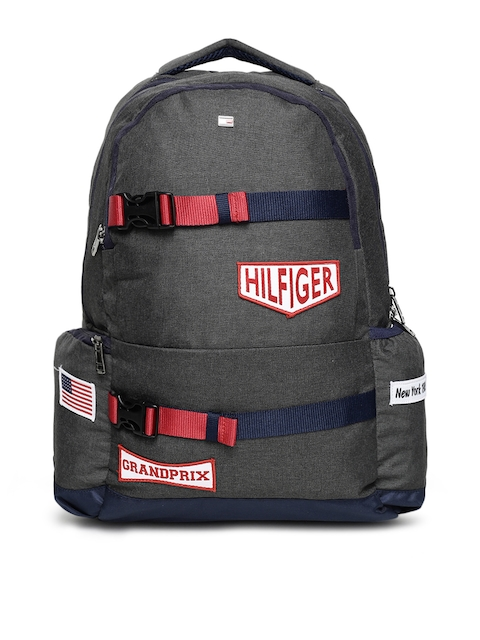 Tommy Hilfiger Unisex Charcoal Grey Solid Backpack