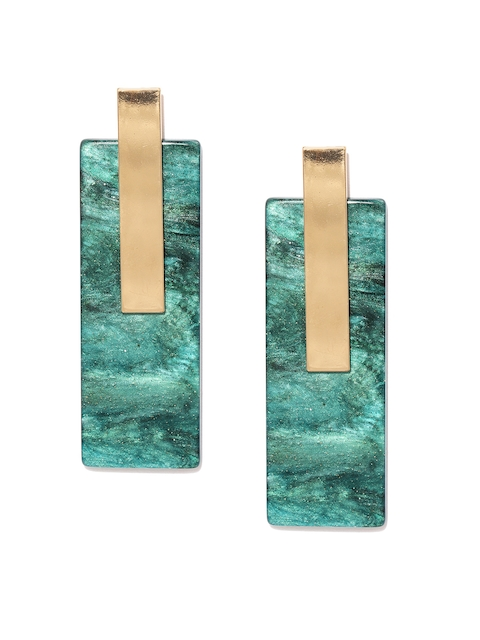 Blisscovered Green & Gold-Toned Geometric Shaped Drop Earrings