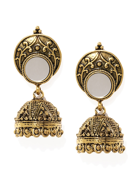 Blisscovered Gold-Toned Dome Shaped Drop Earrings