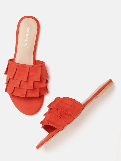 DressBerry Women Orange Solid Open Toe Flats