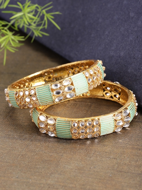 Priyaasi Set of 2 Green Gold-Plated Stone-Studded & Enamelled Handcrafted Bangles