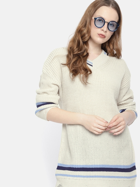 Harvard Women Cream-Coloured Solid Longline Pullover Sweater