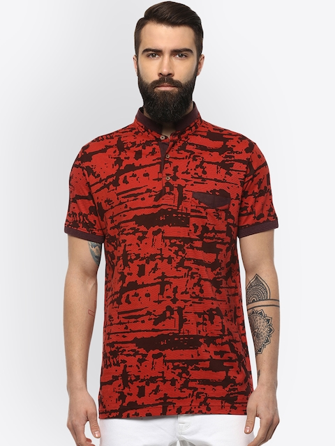 AXMANN Men Red Printed Mandarin Collar T-shirt