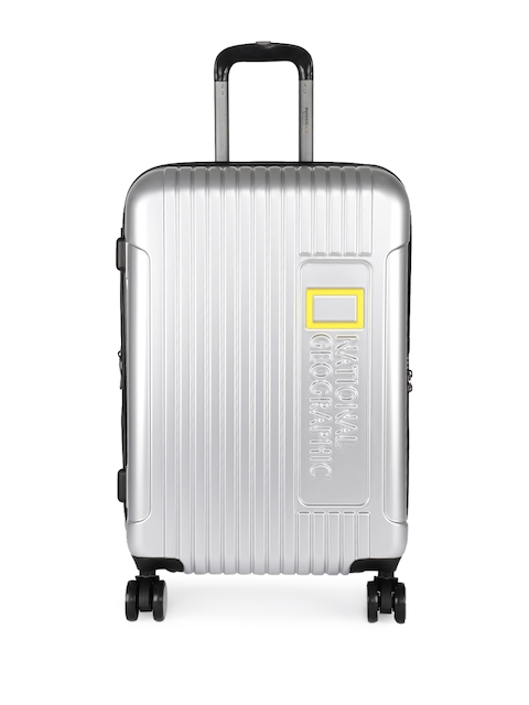 National Geographic Unisex Silver-Toned Lightweight Canyon 60 cm Medium Trolley Suitcase