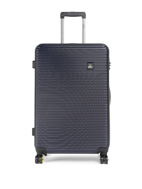 National Geographic Unisex Navy Blue Patterned Abroad 71cm Large Trolley Suitcase