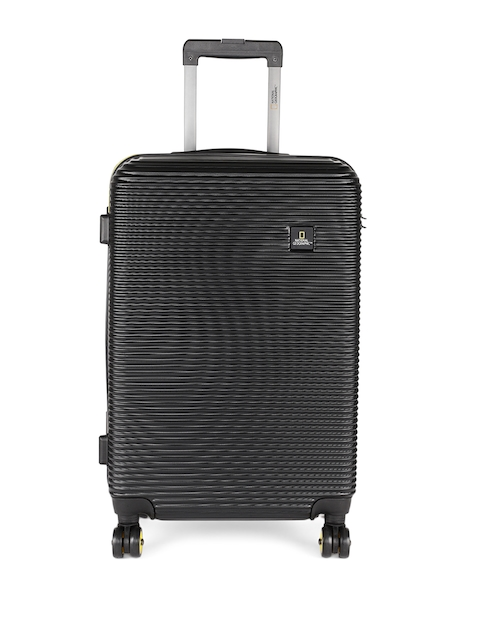 National Geographic Unisex Black Patterned Abroad 60cm Medium Trolley Suitcase