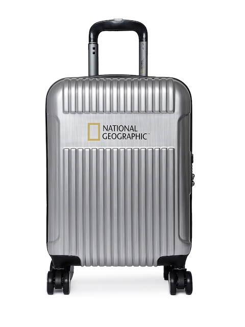 National Geographic Unisex Silver-Toned Patterned Transit Cabin Trolley