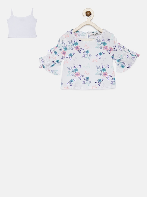 Palm Tree Girls White Printed Top with Camisole
