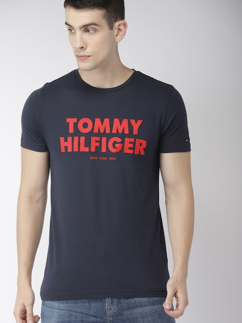 Tommy Hilfiger Men Navy Blue Printed T-shirt