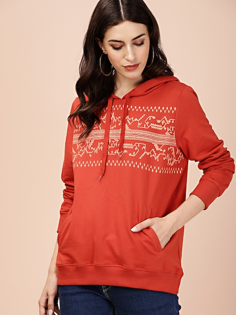 all about you Women Rust Orange Printed Hooded Sweatshirt