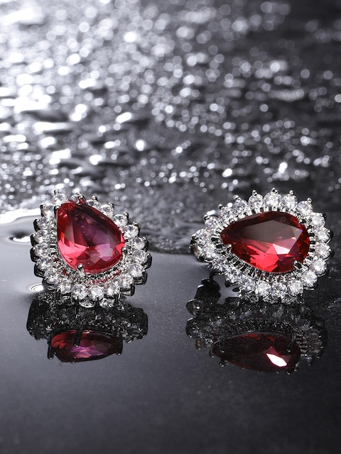 Carlton London Silver-Toned & Red Rhodium-Plated Teardrop Shaped CZ Studs