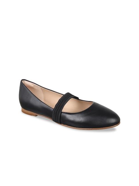 Clarks Women Black Solid Leather Ballerinas