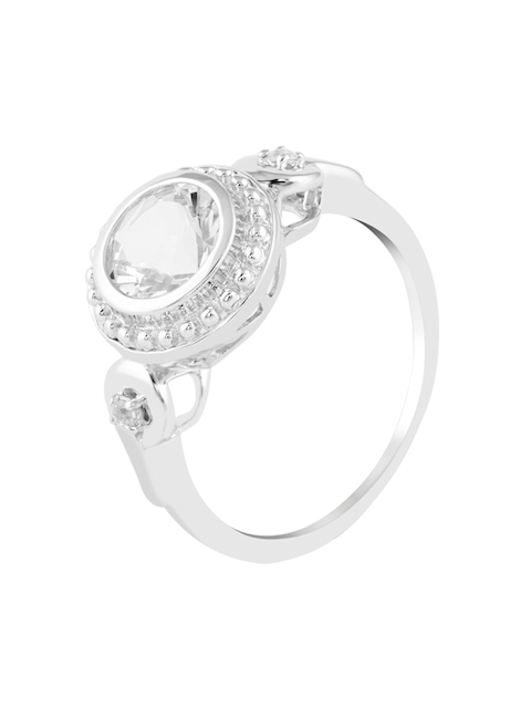 TALISMAN Women Silver-Plated Stone-Studded Circular-Shaped Finger Ring