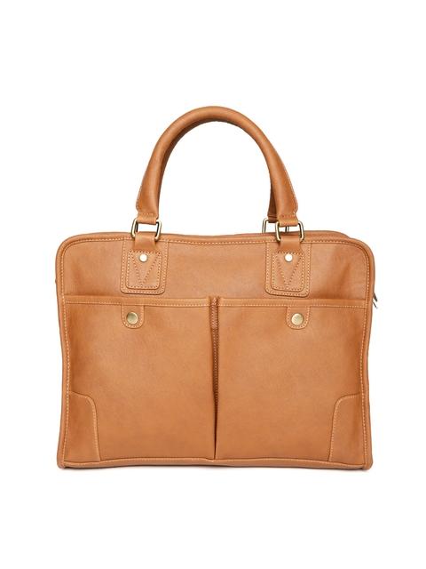 Gauge Machine Unisex Tan Brown Solid Handcrafted Laptop Bag