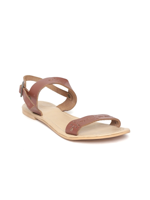 Crave Connect Women Brown Cut-Work Leather Open Toe Flats