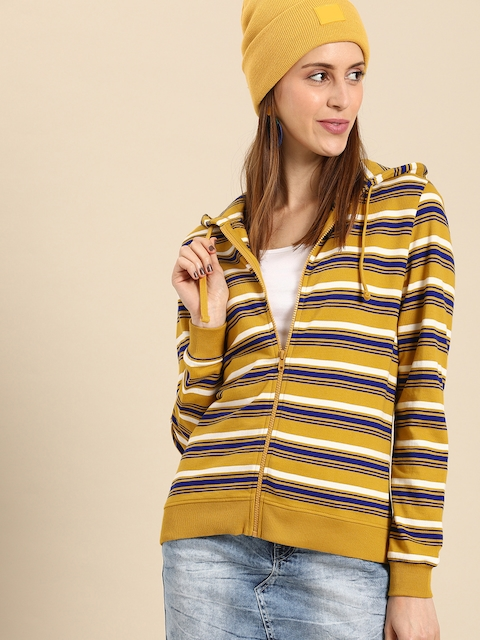 DressBerry Women Mustard Yellow & Blue Striped Hooded Sweatshirt