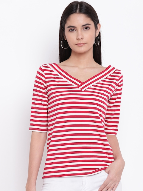 RIVI Women White Striped Top